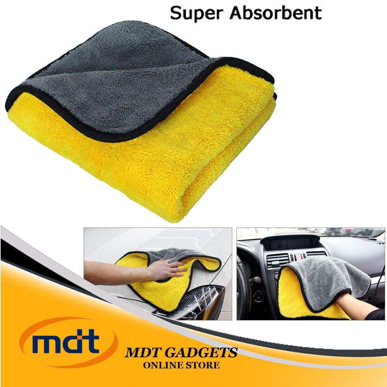 Super Absorbent Car Wash Towel Cleaning Drying Towel (Yellow-Gray) image on snachetto.com