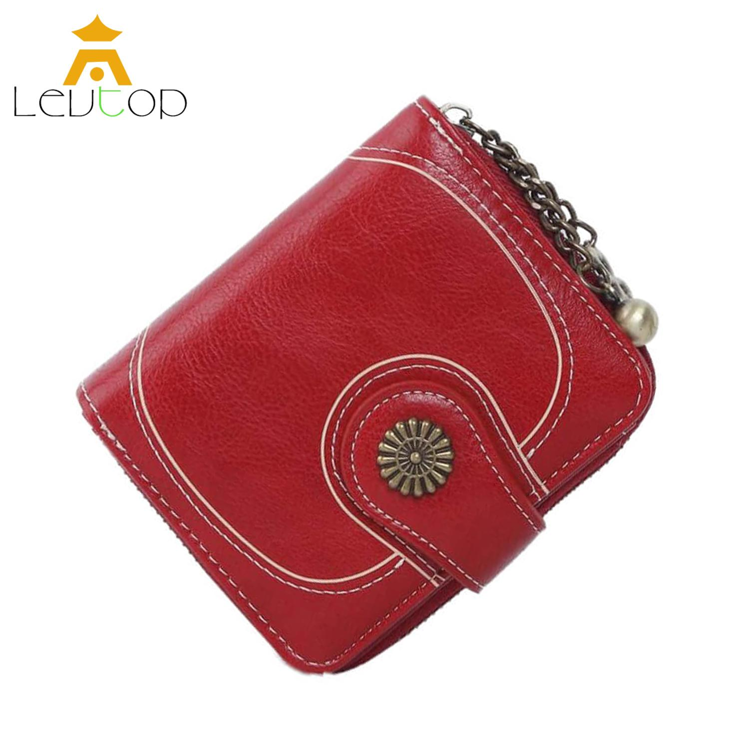 LEVTOP Women Small Wallet Purse Card Holder PU Leather Sling Mini ladies wallet Coin Pocket Zipper Clutch