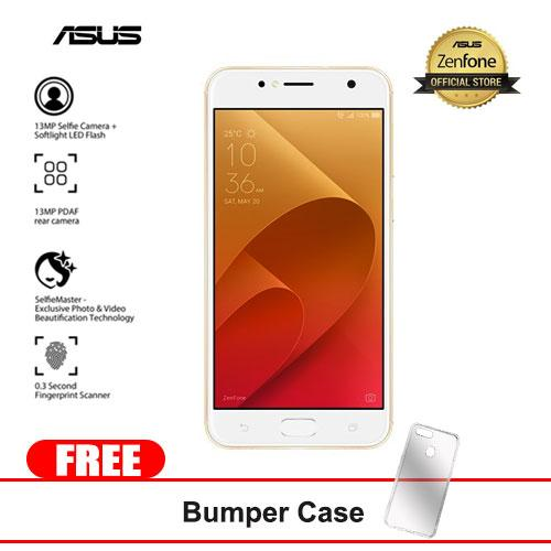 "Asus Zenfone 4 Selfie Lite 16GB 5.50""(Gold) Mobile Phone With Free Bumper Case."