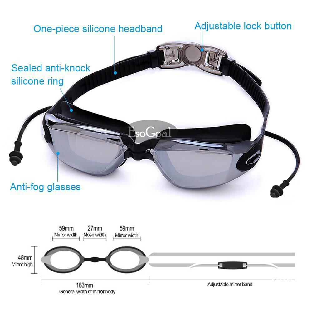 af4e0ddbc8d EsoGoal Swim Goggles, Swimming Goggles for Adult Men Women Youth Kids  Child, Triathlon Equipment, with Mirrored & Clear Anti-Fog, Waterproof, ...