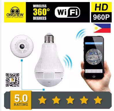 BULB HIDDEN CAMERA ICSEE APP Wi-Fi 360 Wireless Spy Panoramic HD IP Bulb Camera,IP Dome Hidden Camera System for Remote Home Security System for Android/iPhone/iPad/PC - intl with voice talk