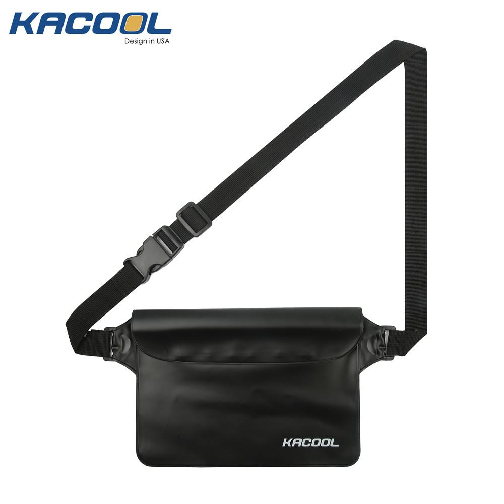 USA KACOOL Portable & Outdoor 3 Zipper Protection Design Waterproof Waist Bag Pouch(Black) image on snachetto.com