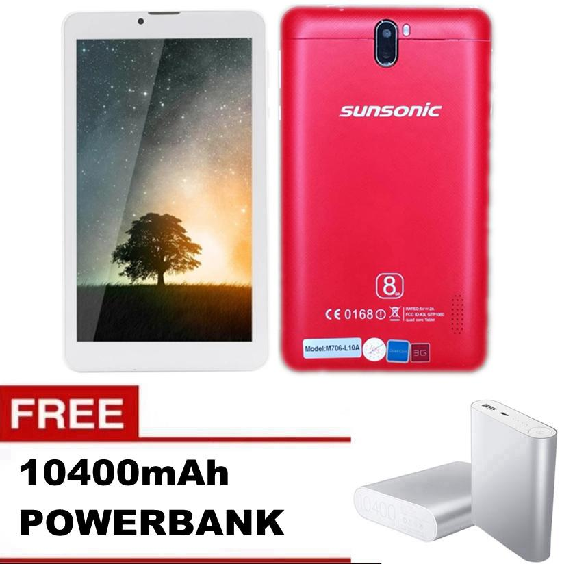 "Sunsonic L10A 7"" 3G Dual Sim Cellular Tablet 8GB with FREE 10400mAh Power Bank"
