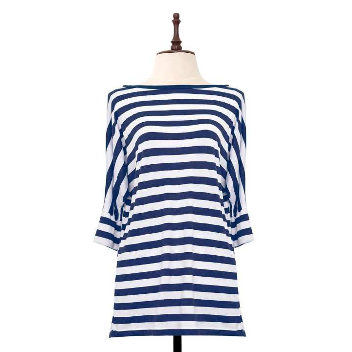 BLACK SHEEP Quarter Sleeve Striped Top Pull-over in Blue