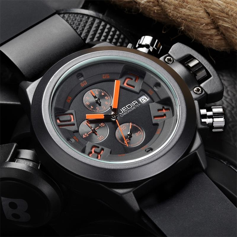 [100% Authentic] JEDIR Brand Men's Multi-function Sport Quartz Watches Chronograph Small Dial Work product preview, discount at cheapest price