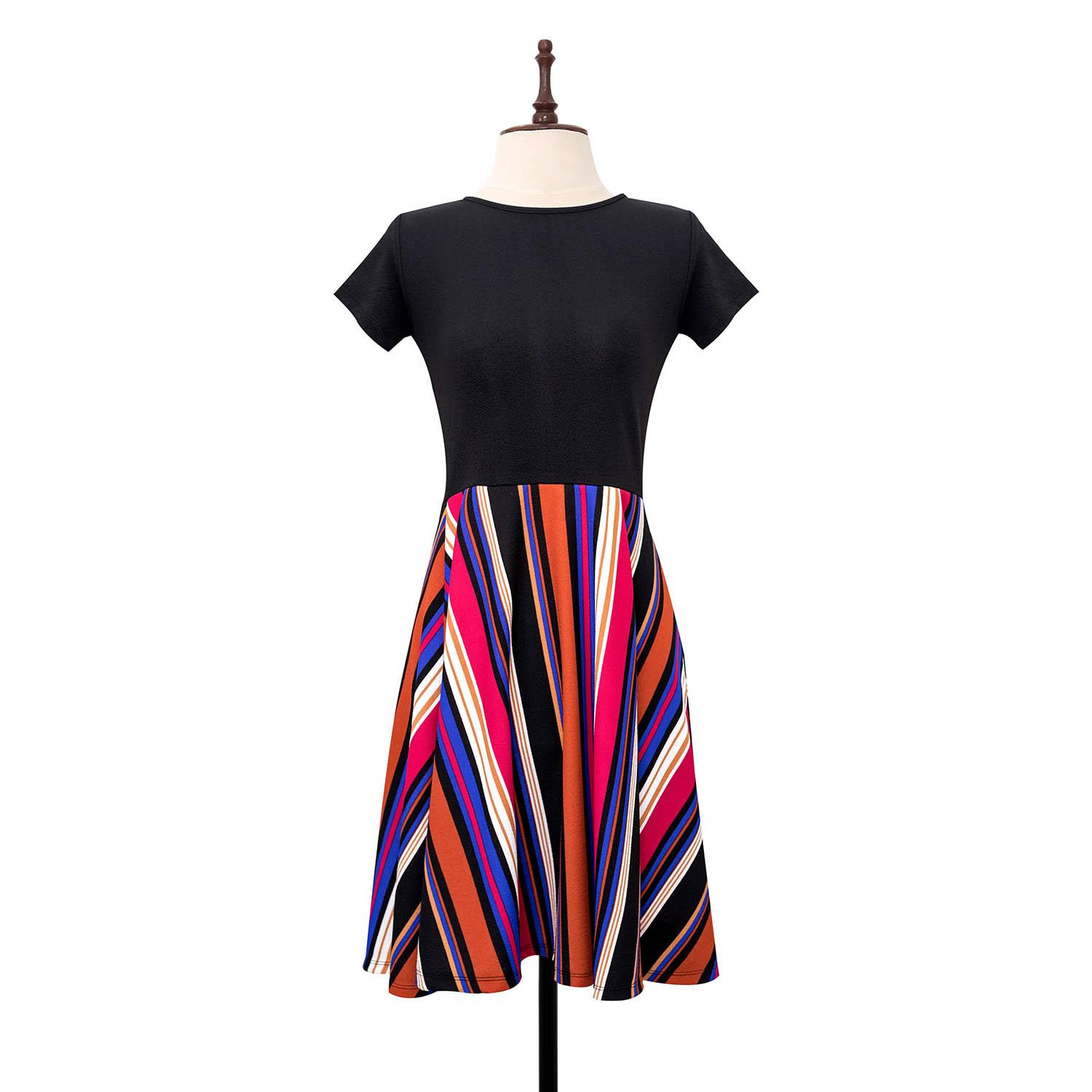 BLACK SHEEP Combination Skater Dress with Retro Stripe Skirt Panel
