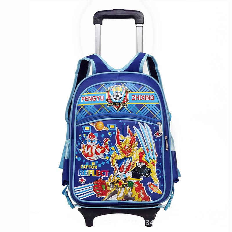 Schoolchildren Boys Girls Trolley Backpack With 6 Wheels Can Climb Stairs Big Size For 5-12 Year Old Kids