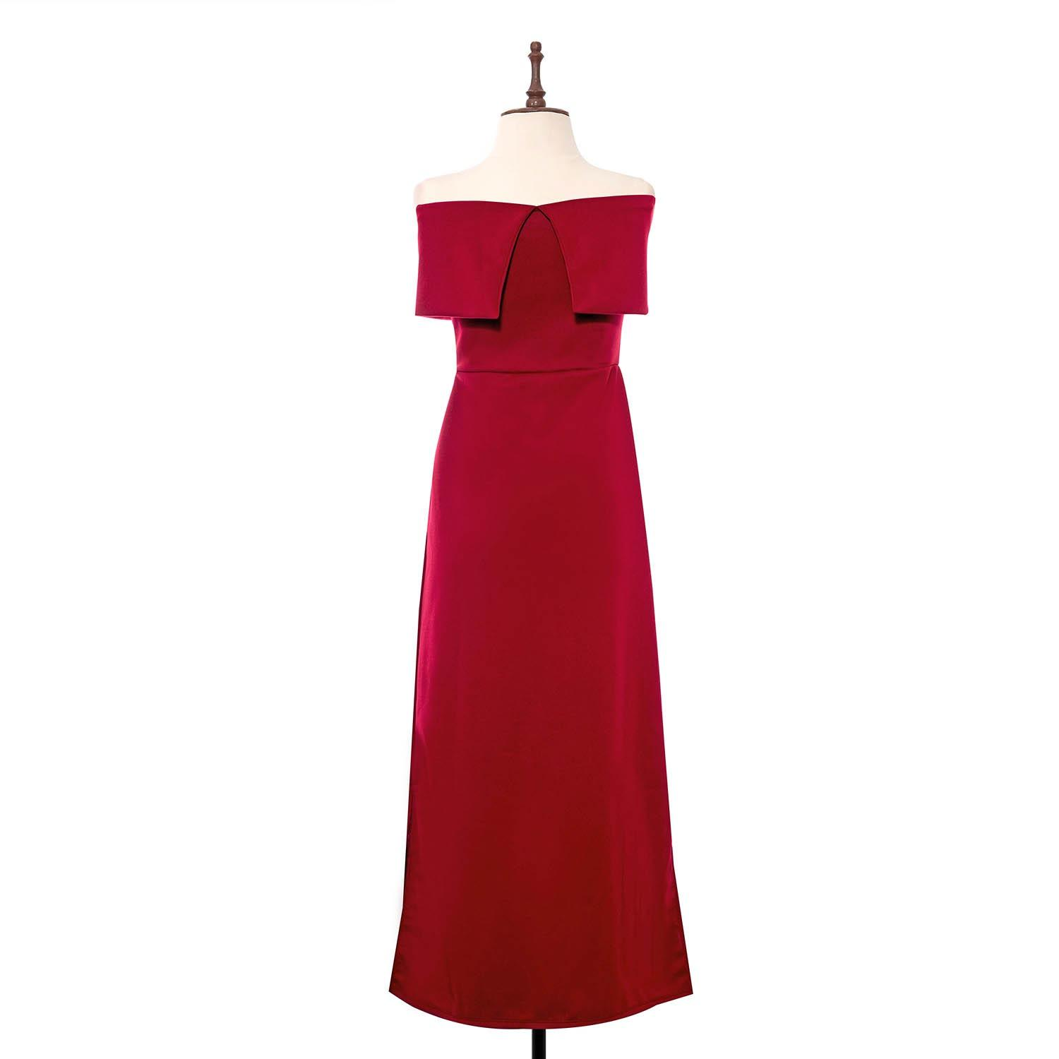 BLACK SHEEP Crepe Maxi Off-Shoulder Dress in Crimson Red