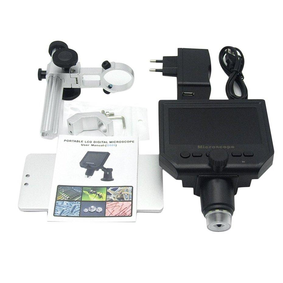 "FCU HD 3.6MP CCD 4.3"" OLED Screen Display 600X Digital Microscope with Metal Bracket"