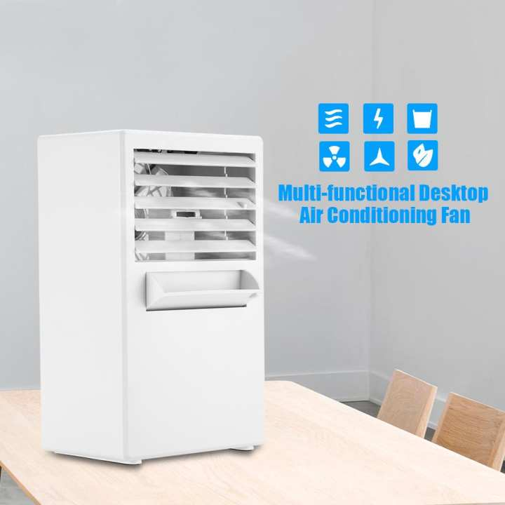 【Free Gift】Mini Portable Desktop Air Conditioning Fan for Cooling Summer Hot Day Use US Plug 100~240V (White)- intl