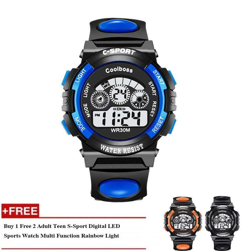 [Buy 1 Free 2] Adult Teen S-Sport Digital LED Sports Watch Multi Function Rainbow Light