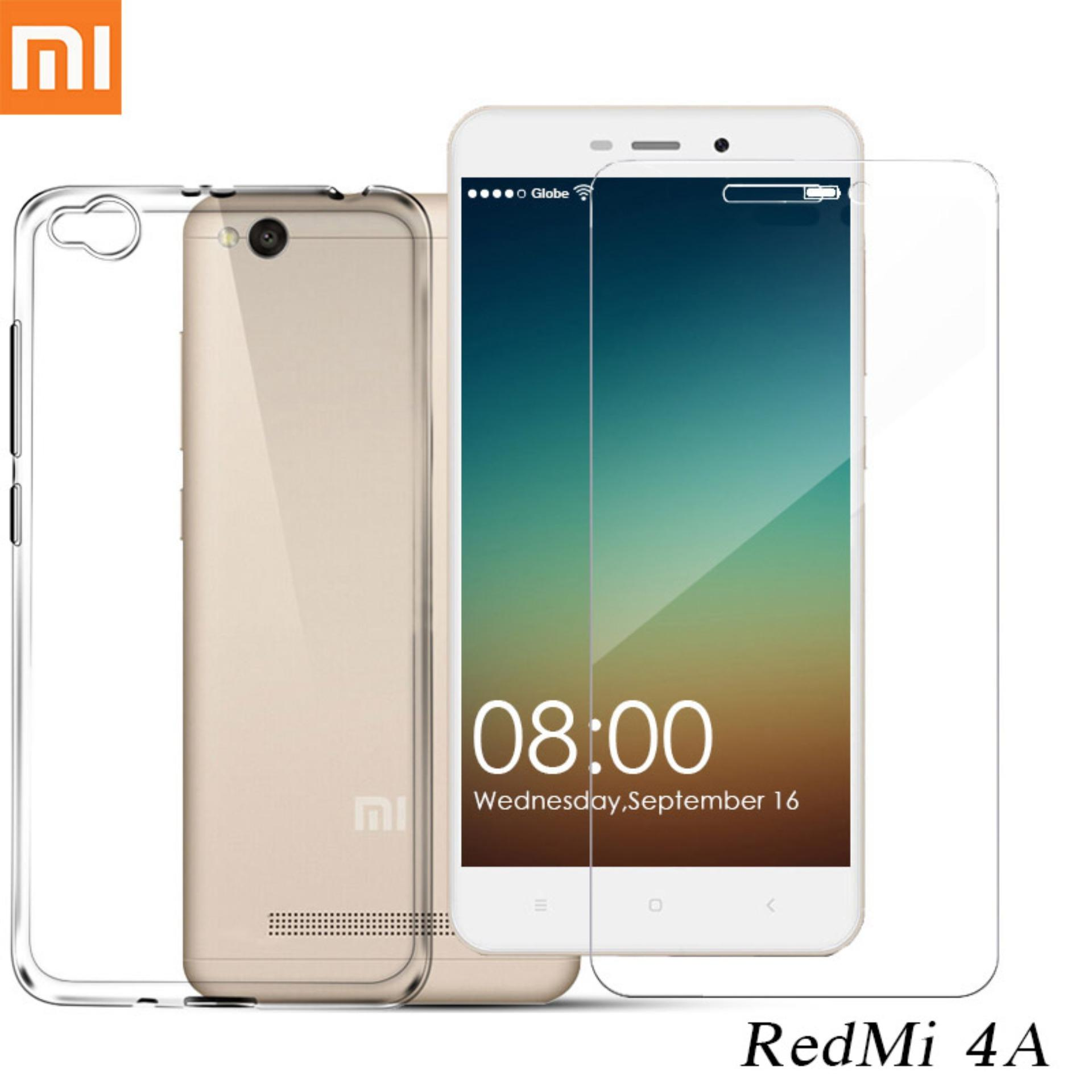 Tylex Tempered Glass 2 Pcs & Jelly Case For Xiaomi Redmi 4A Clear