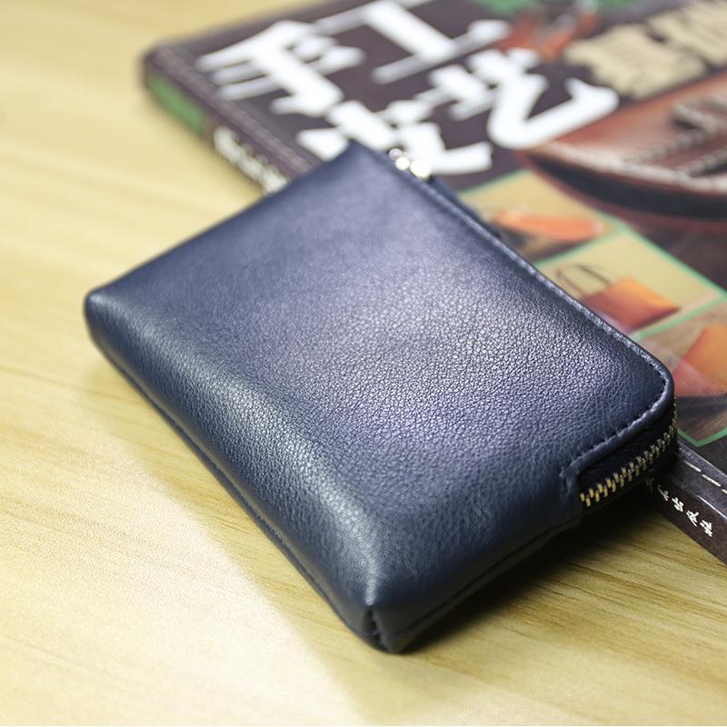 Multifungsi model baru Pria Kulit asli ritsleting dompet kecil kulit sapi Mini Dompet Uang Receh model