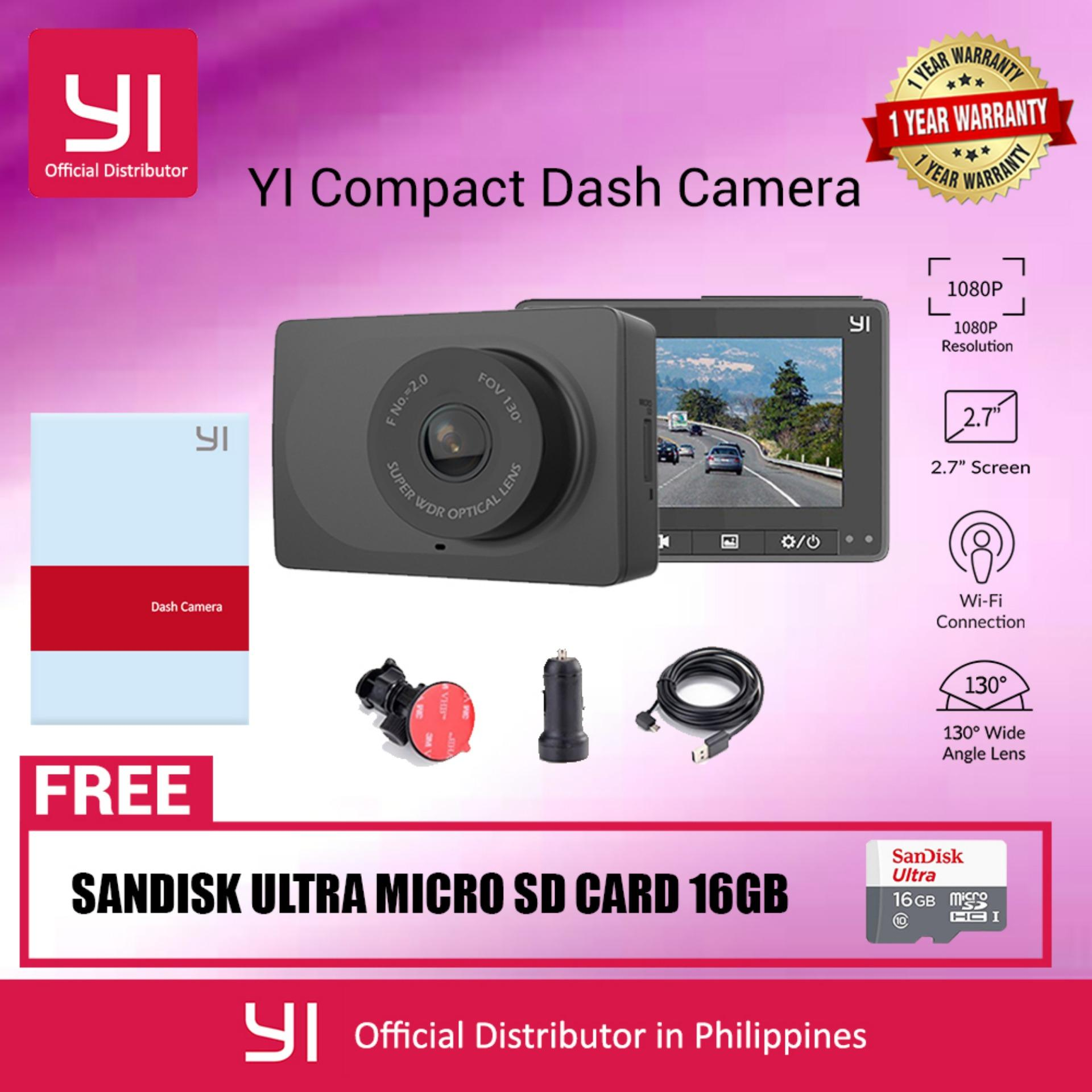 YI Compact Dash Cam 1080p Full HD Car Dashboard Camera with 2.7 inch LCD Screen 130 WDR Lens G-Sensor Night Vision Black English Version with SanDisk 16GB Micro SD Card
