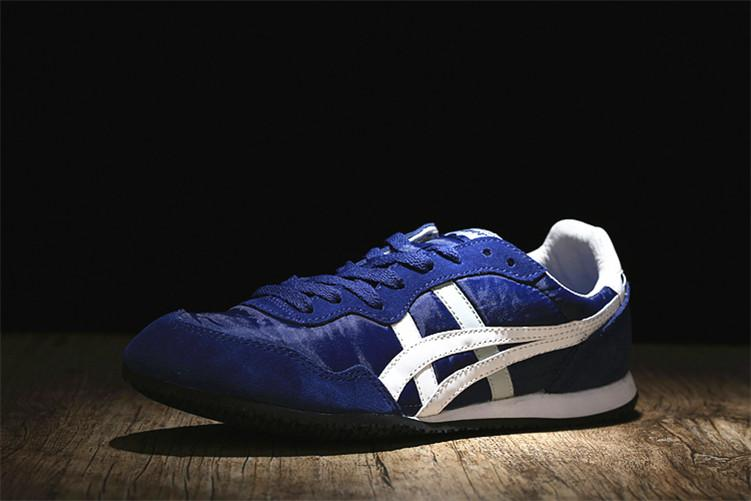 "Fashion Brand Asic Official ""ONITSUKA Tigers"" Blue White Sport MEN/WOMEN Running Shoe Serrano"