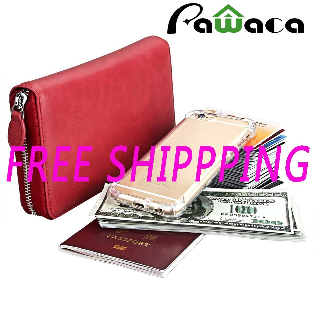 [FREE SHIPPING] Pawaca Leather Wallet Zipper Credit Card Wallet RFID Credit Card Holder Wallet
