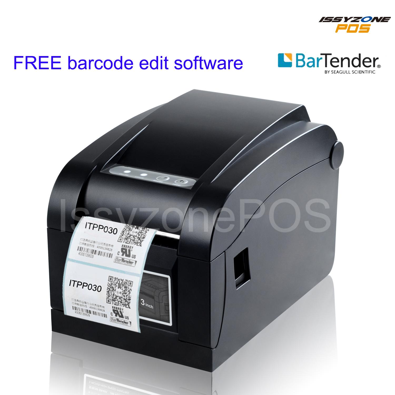 Issyzonepos 3 inch 80mm thermal bar code sticker price label maker printer free bartender barcode software tsc command for shipping label sticker