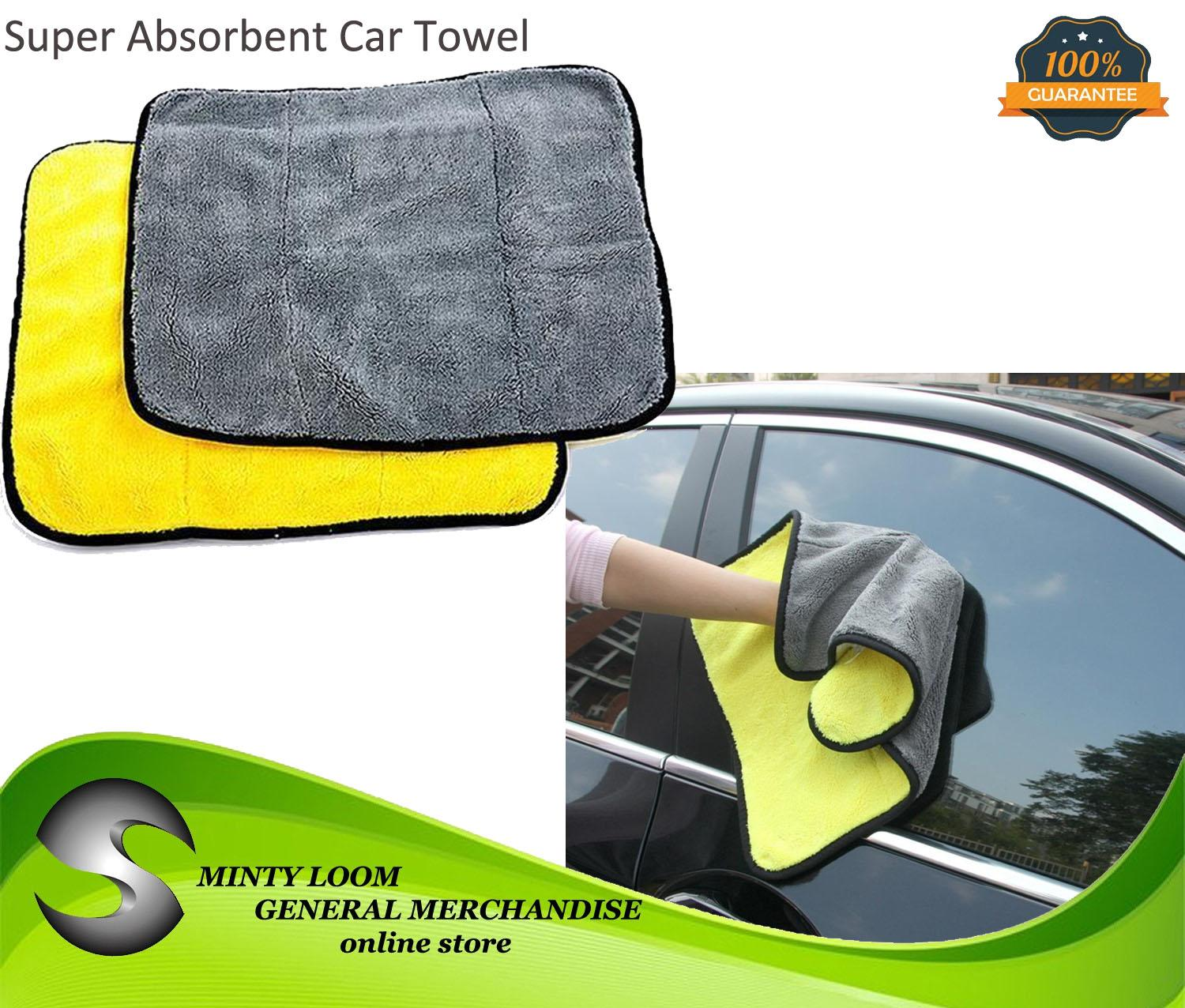Yellow-Gray 800gsm Ultra Thick Plush Microfiber Car Cleaning Towel Buffing Cloths Super Absorbent Drying Auto Detailing Towel image on snachetto.com