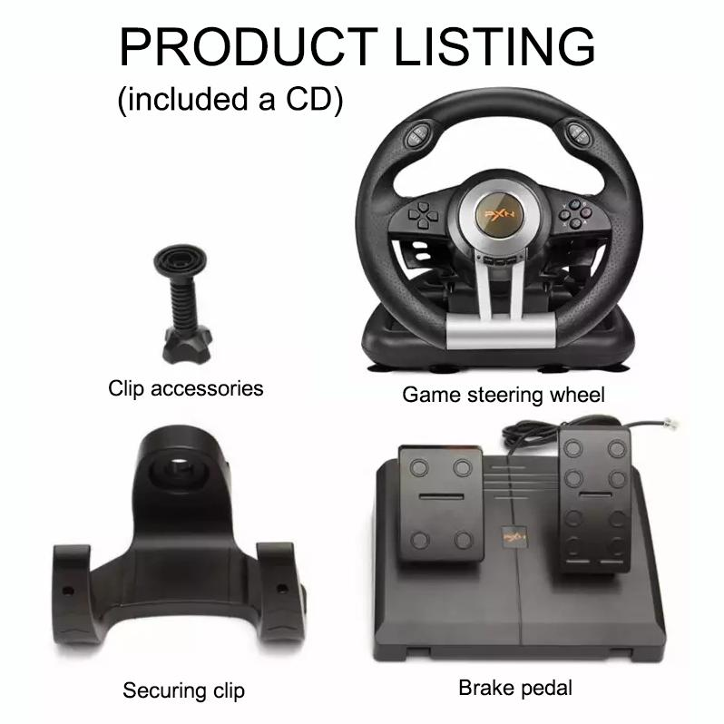PXN-V3II Steering Wheel Racing Game Controller for PS3 PS4 XBOX ONE PC  Support Vibration Function Comes with Pedals (Black)