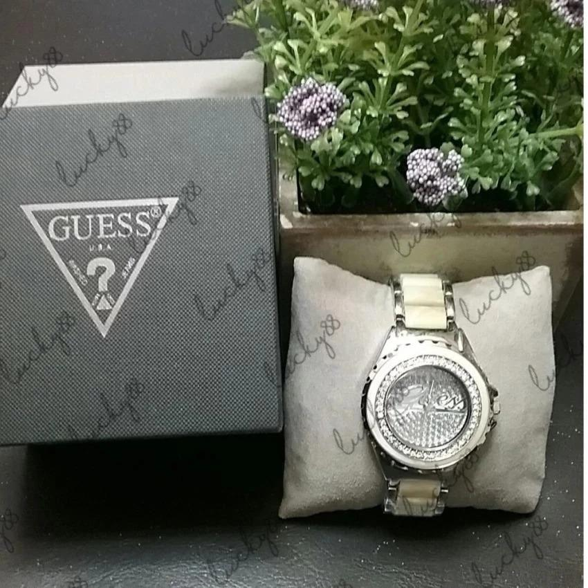 Guess Wrist Watch in White and Silver