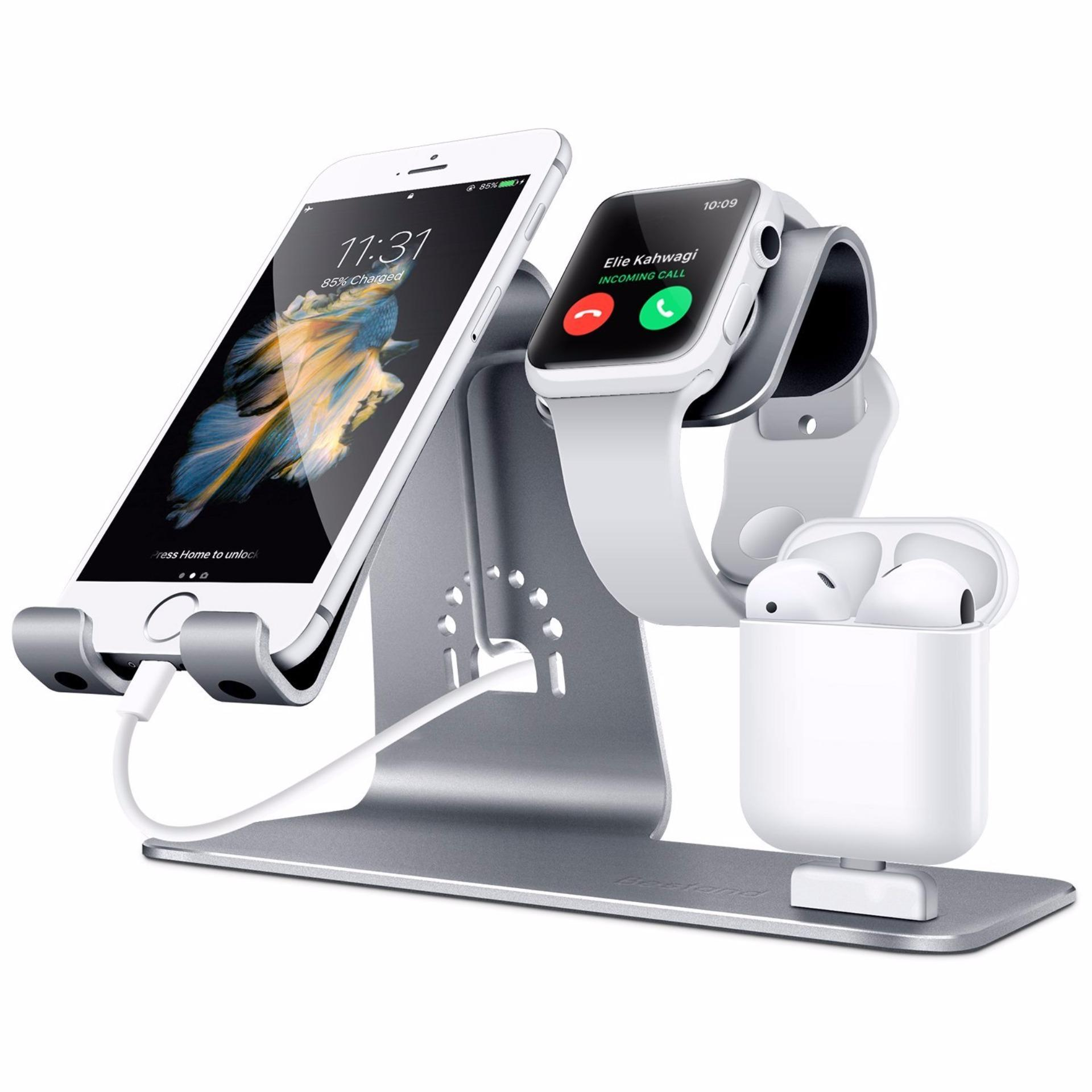 Bestand 3 in 1 Apple iWatch Stand, Airpods Charger Dock, Phone Desktop  Tablet Holder for Airpods, Apple Watch/ iPhone 7 Plus/ iPad,Space