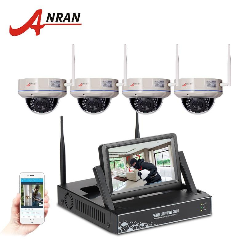 ANRAN Wifi IP CCTV Security Camera System Surveillance Kit 4CH Wireless 7Inch LCD Screen NVR Kit Outdoor Security Camera System