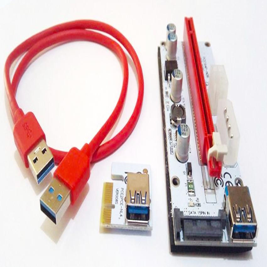 PCI-E Riser Card Power Cable USB 3.0 Adapter 1X To16X Plus Sata Power Cable Version 008S