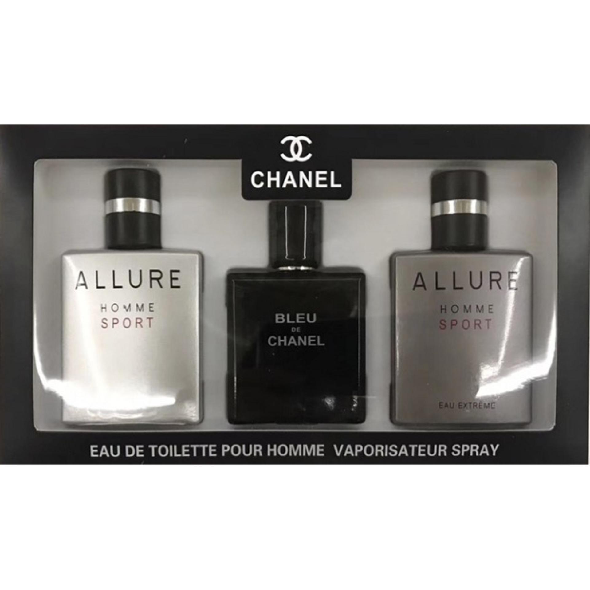 Chanel 3 in 1 Edt Pour Homme Vaporisateur Spray Set for Men with 25ml