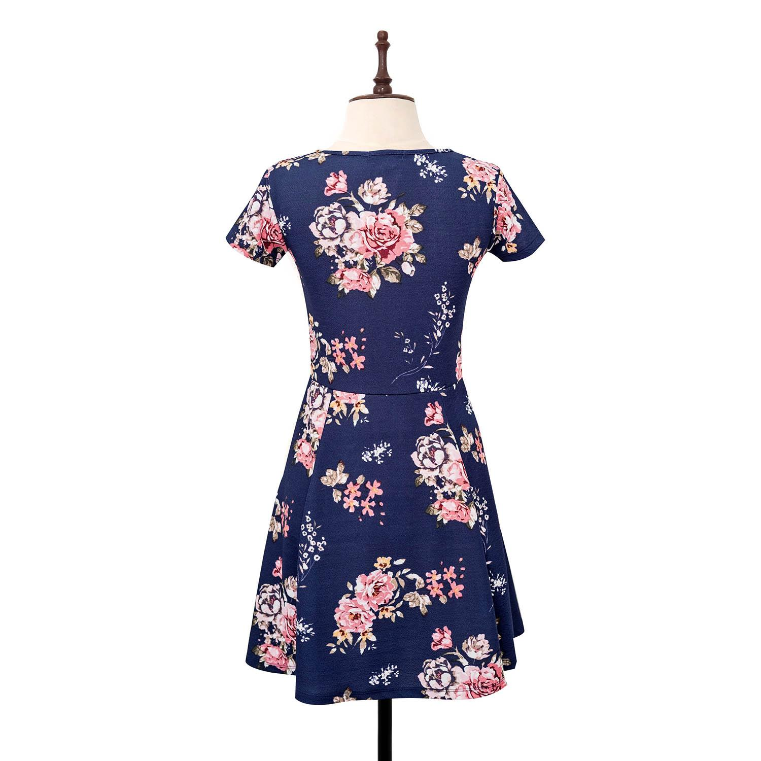 BLACK SHEEP Floral Skater Dress in Blue