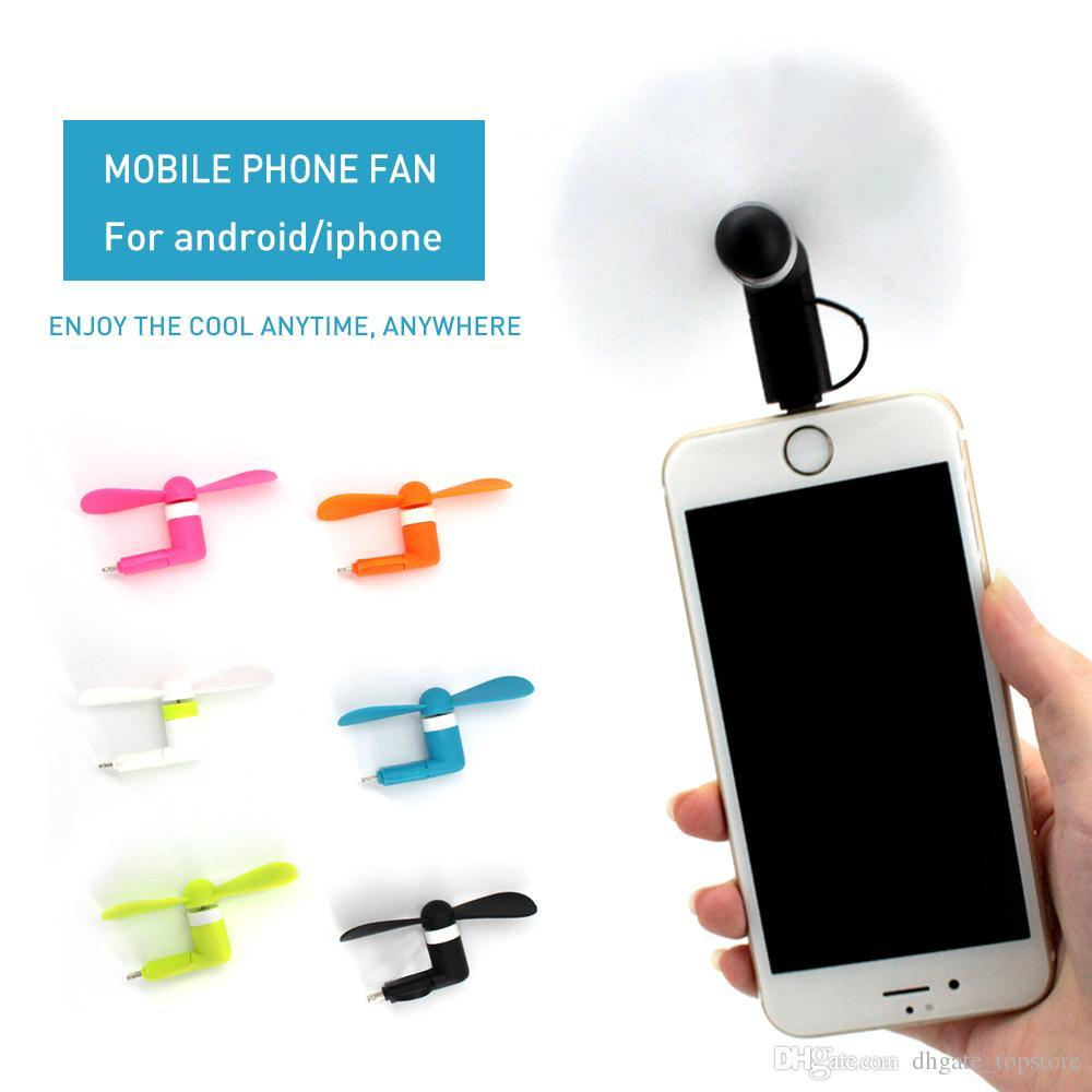 2in1 Portable Micro USB iPhone Port Electric Fan Cooling For iphone Android  Phone
