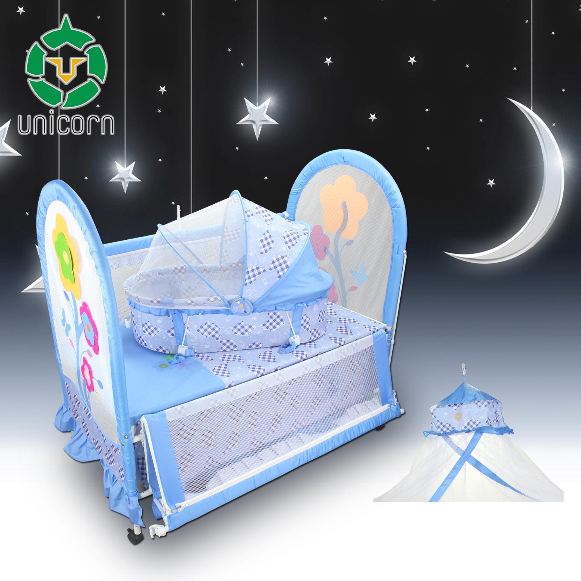 New Unicorn Multi-function 5 in 1 Baby Crib Playpen Carry Basket Baby Swing Co-sleeper Play Yard with Insect Net image