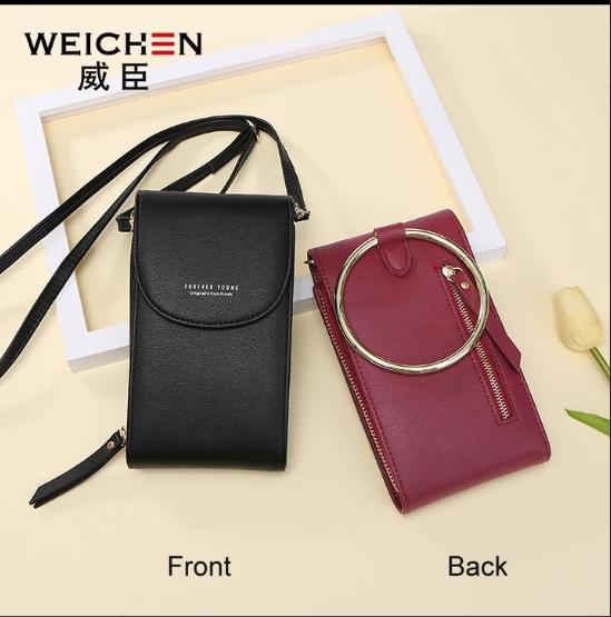 Authentic Korean fashion cellphone sling bag and shoulder bag.Wine Red