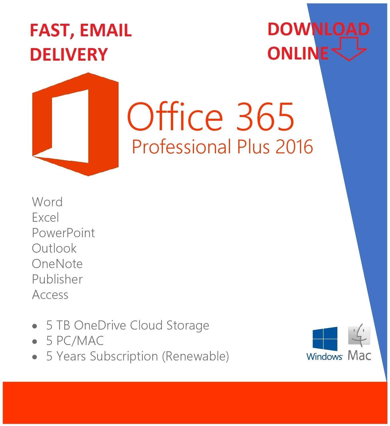 Sale! Microsoft Office 365 ProPlus 32/64 bit for 5 PC/MAC