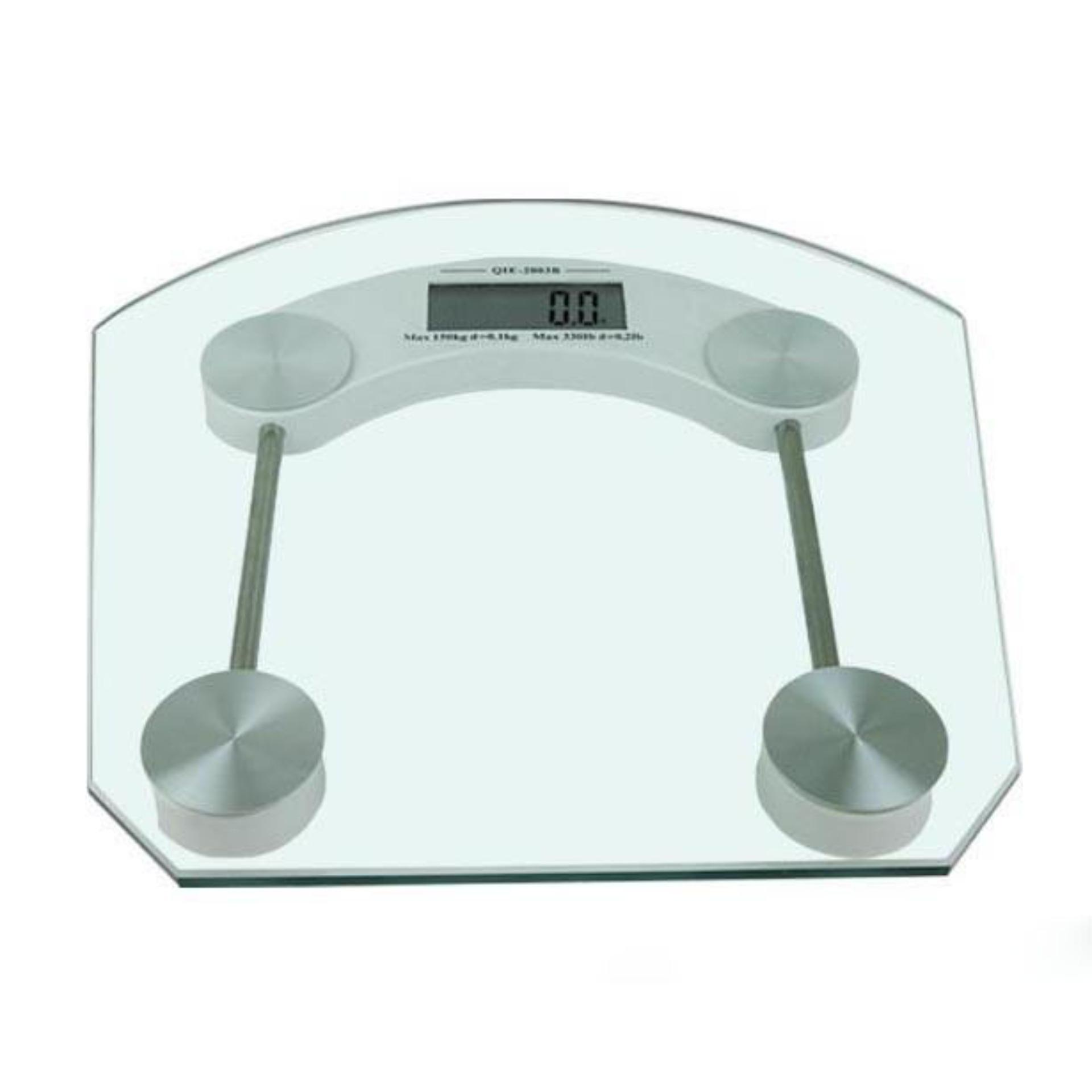 Digital LCD Electronic Tempered Glass Bathroom Weighing Scale (White) image on snachetto.com