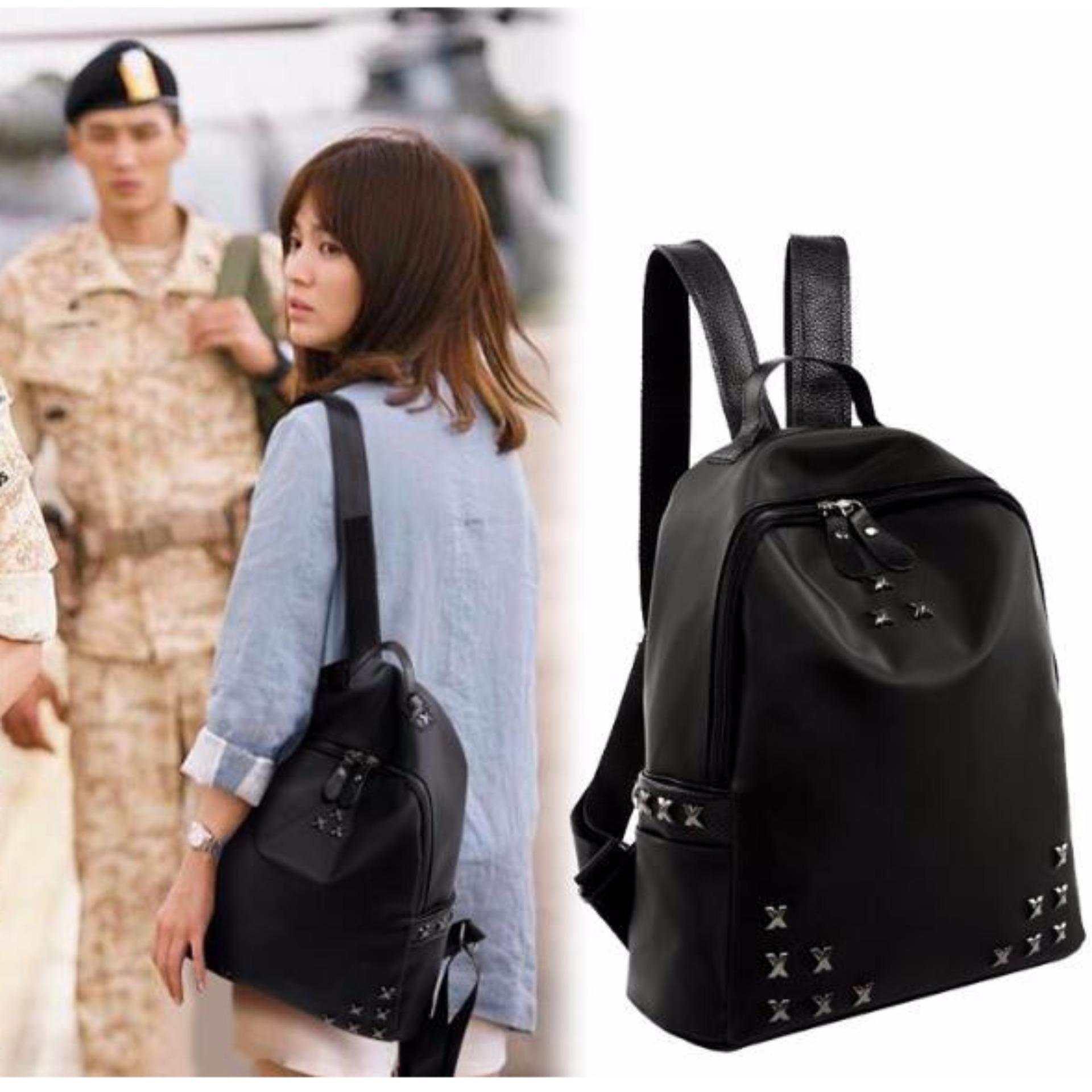 Black Bag Backpack School Bag Descendants Of The Sun Cross
