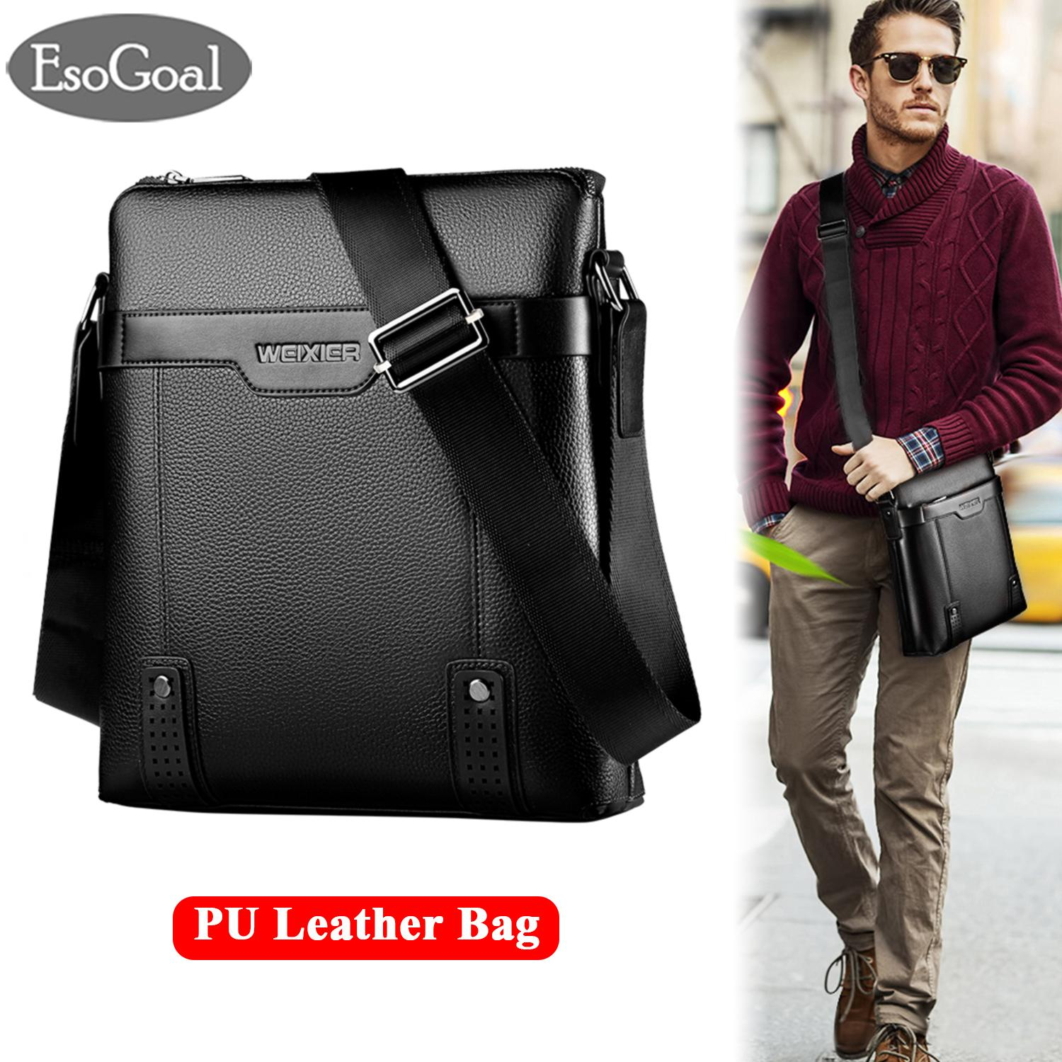 EsoGoal Men Messenger Bag PU Leather Sling Shoulder Crossbody Men Bag Handbag Men Casual Business Fashion Bag