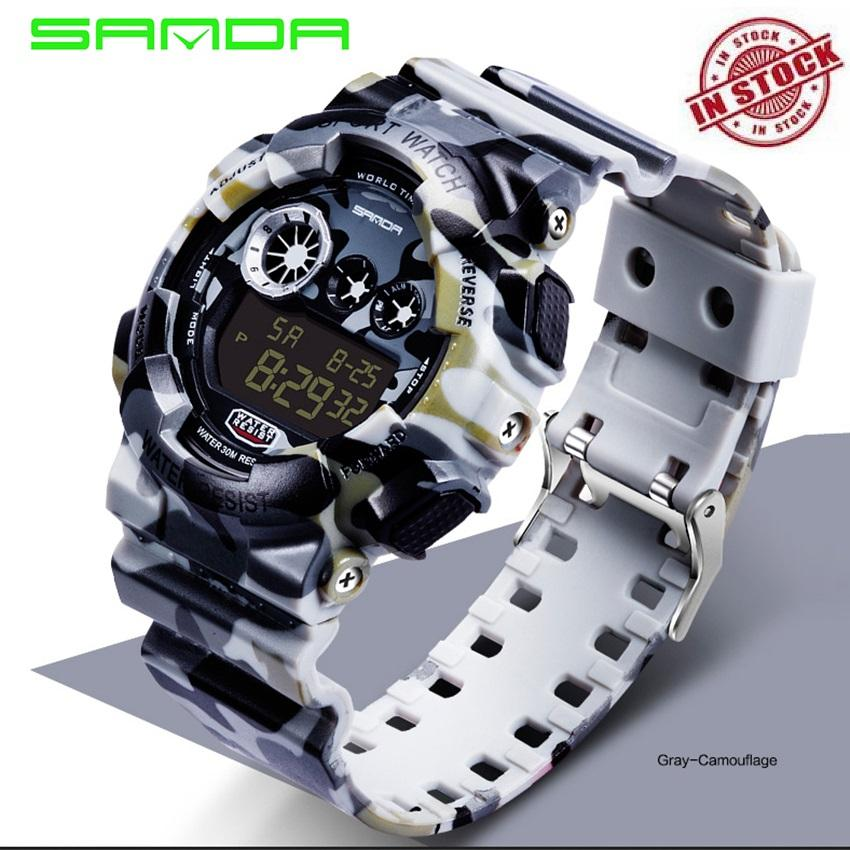2019 SANDA 289 Como Men's Watch Men Luxury Led Digital Watch Men's Digital Watch Men Sports Watches S Shock LED Military Waterproof  Wristwatches(Camouflage)