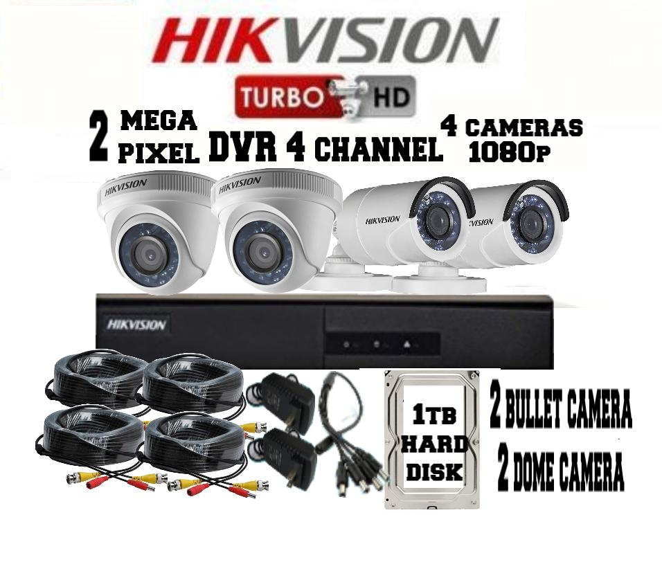 HIKVISION TURBO HD DVR Model DS-7204HGHI-F1  2MP 4 CHANNEL 4 cameras 1080p with 1TB Hard disk PACKAGE