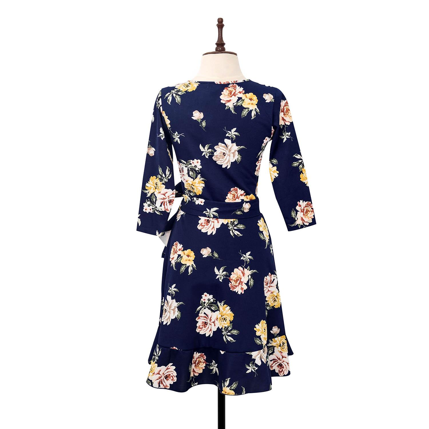 BLACK SHEEP Quarter Floral Surplice Dress w/ Ruffled hem in Blue Neoprene