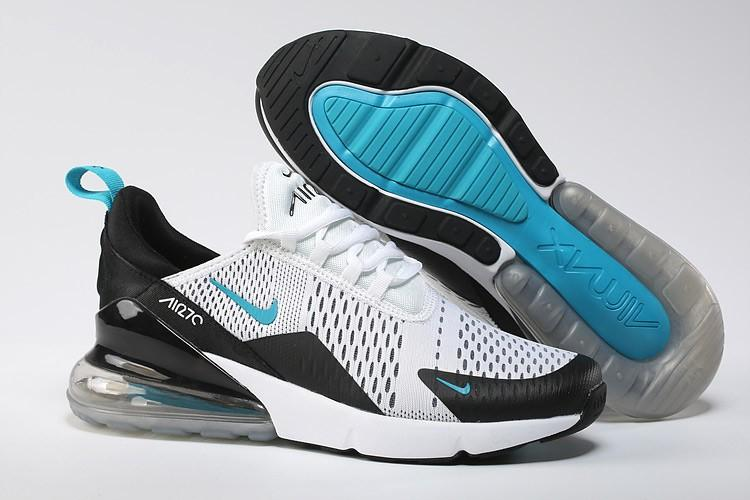 Nike_Air_Max 270 Flyknit_Black & Dusty Cactus White Blue Men's Running Shoes Fashion Training Shoes