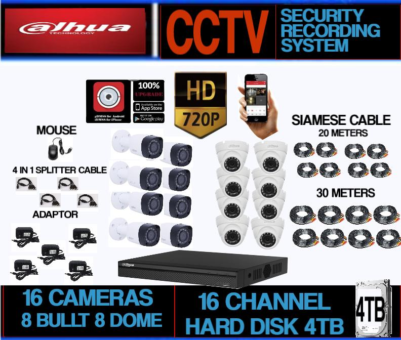 Dahua 1MP (720P) 16 Camera 16 channel Package with 4TB Hard Disk