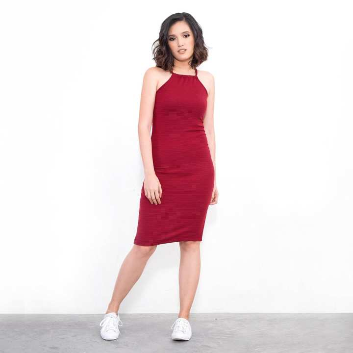 BLACK SHEEP Fitted Halter Dress in Textured Knit in Maroon