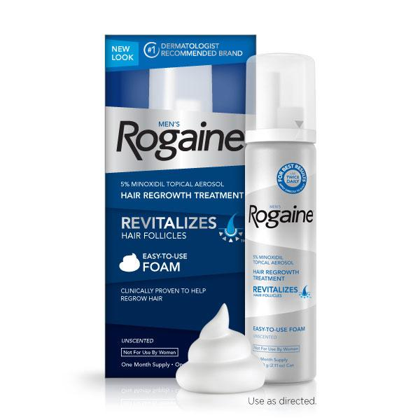 Mens ROGAINE 5% Minoxidil Tropical Aerosol, Hair Regrowth Treatment (Unscented Foam) One Month Supply