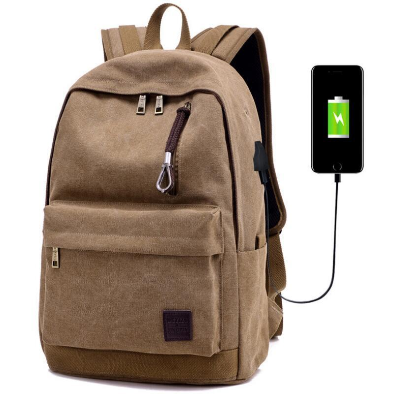 New Men Male Canvas Backpack College Student School Backpack Bags for Teenagers Vintage Mochila Casual Rucksack