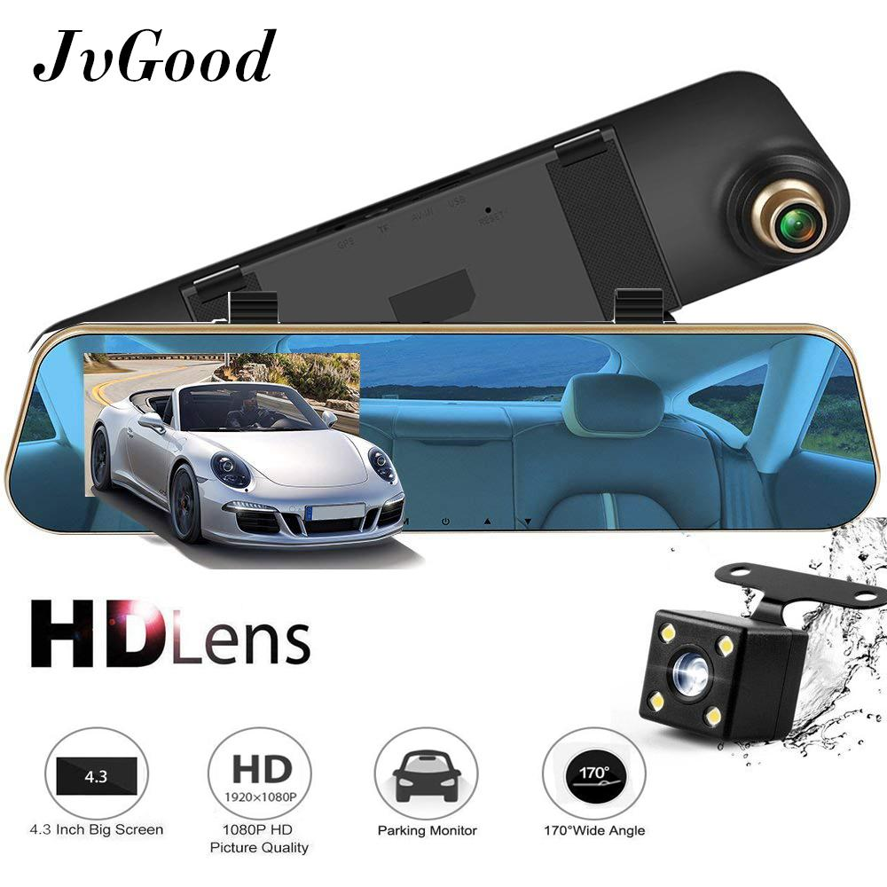 JvGood Rearview Dash Cam with Reverse Parking System Mirror Car DVR Car Video Recorder Car Video Camera with Dual Lens for Vehicles Front & Rearview