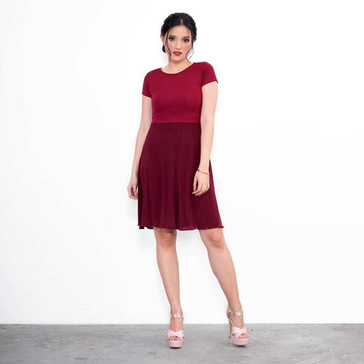 BLACK SHEEP Combination Skater Dress w/ Short Sleeves & Electric Pleated Skirt Panel in Burgundy Red