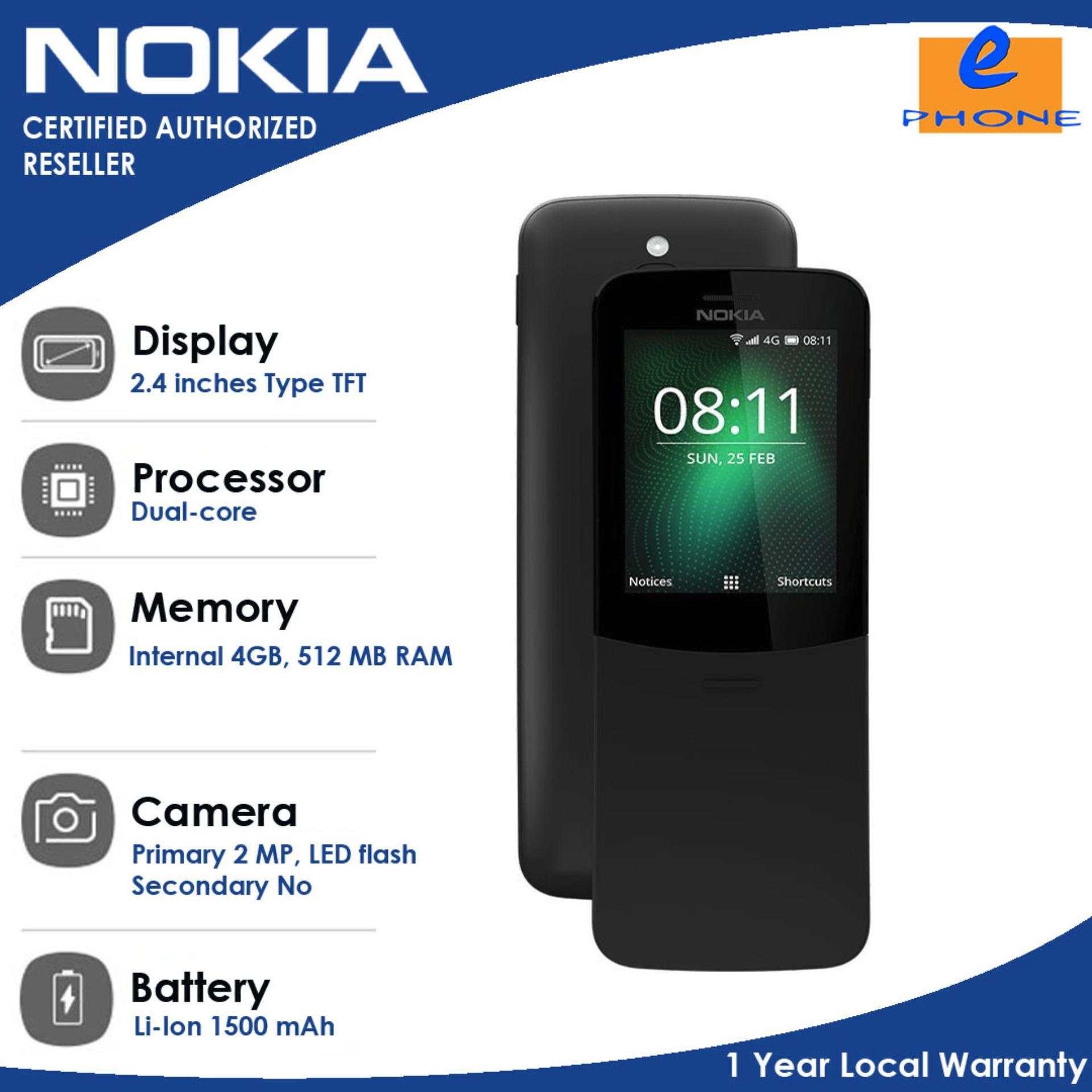 Nokia 8110 4GB  2.4 inches 4GBRAM+512RAM 2MPBack Front KaiOS Qualcomm MSM8905 Snapdragon 205 Dual-Core 1500 mah with 1 Year Local Warranty Authentic/Original Dual Sim TFT 240x320 4:3 Ratio Micro USB 2.0 (Traditional Black)