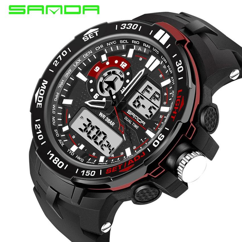 2018 Best Quality SANDA 737 Men's Fashion Outdoor Sports Waterproof Noctilucent Watch(red)