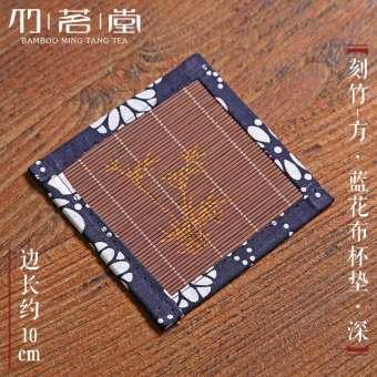 ทรงสี่เหลี่ยมจตุรัสจานรองแก้วไม้ไผ่ Tic Tac Toe ที่วางแก้วที่รองถ้วยน้ำชากังฟูถ้วยชาชิ้นส่วนถาดรองชาชุดน้ำชาอะไหล่กันความร้อนสนับสนุนเบาะรองกาน้ำ