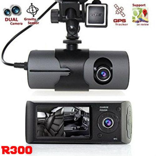 R300 Dual Lens Dashboard Camera - Records Front and In-Car w/ Night Vision Assist